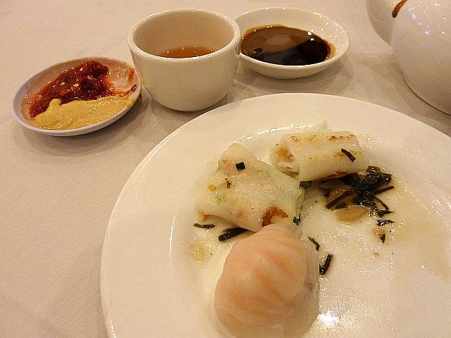 Har Gau and Chun Fun, with hoisin sauce, Chinese mustard and tea